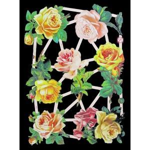 作品販売可能 ドイツ製クロモス 黄色の薔薇 バラ 花 1シート 7346 ラメ無 コラージュ デコパージュなどのハンドメイド素材に|ccpopo