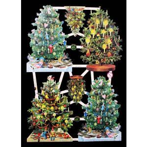 作品販売可能 ドイツ製クロモス 1シート 7390 ラメ無 コラージュ デコパージュなどのハンドメイド素材に 4本のクリスマスツリー 4 Tannenbaume ccpopo