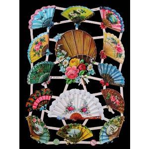 作品販売可能 ドイツ製クロモス 1シート 7392 ラメ無 コラージュ デコパージュなどのハンドメイド素材に 花 扇子 扇 和風 和柄 Tiere in Blumen|ccpopo