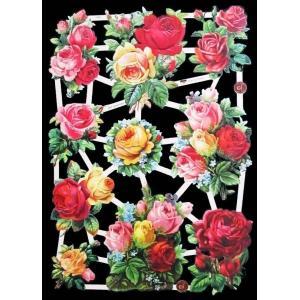 作品販売可能 ドイツ製クロモス 1シート 7393 ラメ無 コラージュ デコパージュなどのハンドメイド素材に 薔薇 花|ccpopo