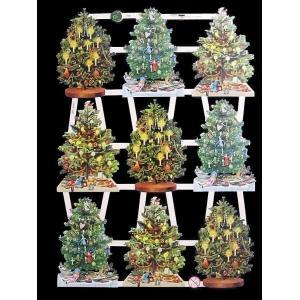 作品販売可能 ドイツ製クロモス クリスマスツリー 1シート 7396 ラメ無 コラージュ デコパージュなどのハンドメイド素材に|ccpopo
