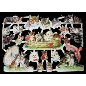 作品販売可能 ドイツ製クロモス 1シート 7415 ラメ無 コラージュ デコパージュなどのハンドメイド素材に Katzen ねこ ネコ 猫 キャット|ccpopo