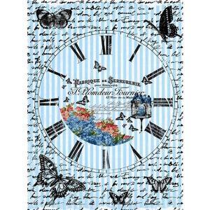 ロシア 露 クラフトプレミア Craft Premier 作品販売可デコパージュ用ライスペーパー A3 「蝶と時計」 25g/m CP00539  正規輸入品|ccpopo