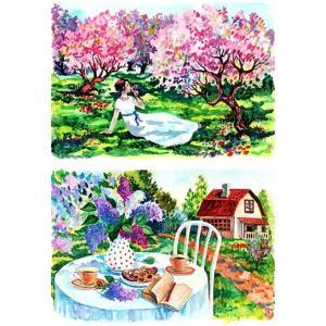 ロシア 露 クラフトプレミア Craft Premier 作品販売可デコパージュ用ライスペーパー A4 「果樹園」 25g/m CP01792-1  正規輸入品|ccpopo