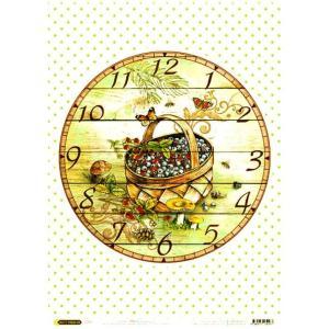 ロシア 露 クラフトプレミア Craft Premier 作品販売可デコパージュ用ライスペーパー A4 「フルーツバスケット 時計」 25g/m CP04167-1 正規輸入品|ccpopo