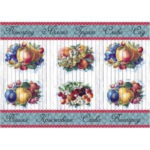 ロシア 露 クラフトプレミア Craft Premier 作品販売可デコパージュ用ライスペーパー A4 「果樹園 フルーツ」 25g/m CP04440-1  正規輸入品|ccpopo