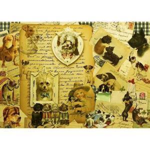 ロシア 露 クラフトプレミア Craft Premier 作品販売可デコパージュ用ライスペーパー A4 「犬とレター」 25g/m CP04587-1  正規輸入品|ccpopo