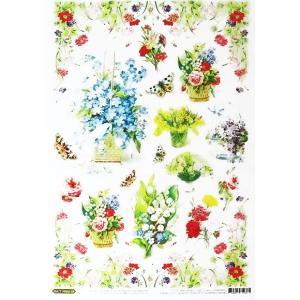 ロシア 露 クラフトプレミア Craft Premier 作品販売可デコパージュ用ライスペーパー A4 「美しい花のフラワーポット」 25g/m CP06433-1 日本総代理店推奨品|ccpopo