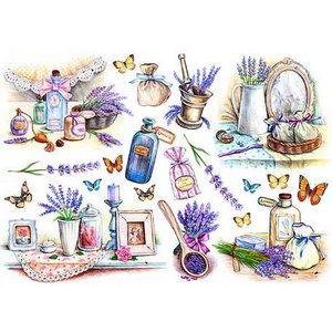 ロシア 露 クラフトプレミア Craft Premier 作品販売可デコパージュ用ライスペーパー A4 「ラベンダーの香り」 25g/m CP06567-1 正規輸入品|ccpopo