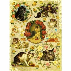 ロシア 露 クラフトプレミア Craft Premier 作品販売可デコパージュ用ライスペーパー A4 「薔薇と猫 キャット」 25g/m CP09606-1 正規輸入品|ccpopo