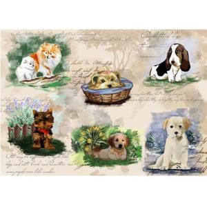 ロシア 露 クラフトプレミア Craft Premier 作品販売可デコパージュ用ライスペーパー A4 「パピー 子犬」 25g/m CP09866-1 正規輸入品|ccpopo
