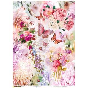 ロシア 露 クラフトプレミア Craft Premier 作品販売可デコパージュ用ライスペーパー A4 「ピンクの花と蝶」 25g/m CPD0589-1 日本総代理店推奨 正規輸入品|ccpopo