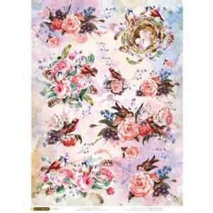 ロシア 露 クラフトプレミア Craft Premier 作品販売可デコパージュ用ライスペーパー A4 「薔薇と小鳥のさえずり」 25g/m CPD0602-1 正規輸入品|ccpopo