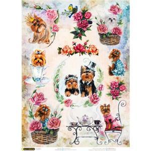 ロシア 露 クラフトプレミア Craft Premier 作品販売可デコパージュ用ライスペーパー A4 「かわいいヨークシャーテリア 犬 ドッグ」 25g/m CPD0606-1 正規輸入品 ccpopo