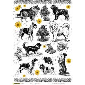 ロシア 露 クラフトプレミア Craft Premier 作品販売可デコパージュ用ライスペーパー A4 「犬 ドッグ」 25g/m CPD0703-1 正規輸入品|ccpopo