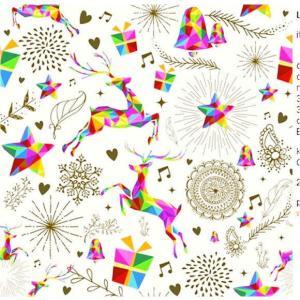 Daisy ポーランド ペーパーナプキン Lunch napkins クリスマス 七色トナカイ・星 バラ売り2枚1セット SDGW007001|ccpopo