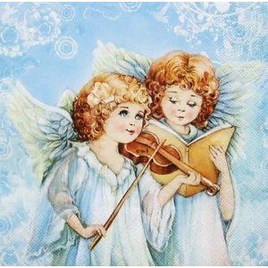 Daisy ポーランド ペーパーナプキン Lunch napkins 天使の奏でる音楽 SDGW013101 バラ売り2枚1セット デコパージュ ドリパージュ|ccpopo