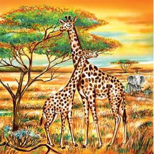 Daisy ポーランド ペーパーナプキン Lunch napkins 2匹のキリン Two Giraffes バラ売り2枚1セット SDOG-006001 デコパージュ ドリパージュ|ccpopo