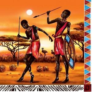 Daisy ポーランド ペーパーナプキン Lunch napkins アフリカの戦士 Afrika-Krieger バラ売り2枚1セット SDOG-006101|ccpopo