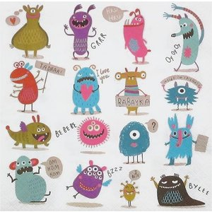 Daisy ポーランド ペーパーナプキン Lunch napkins クレージーモンスター Crazy Monsters バラ売り2枚1セット SDOG-019101 デコパージュ ドリパージュ