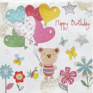 Daisy ポーランド ペーパーナプキン Lunch napkins Lovely Happy Birthday バラ売り2枚1セット SDOG-021601 デコパージュ ドリパージュ|ccpopo