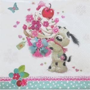 Daisy ポーランド ペーパーナプキン Lunch napkins ワンちゃんからカップケーキの贈物 バラ売り2枚1セット SDOG-022301 デコパージュ ドリパージュ|ccpopo