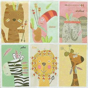 Daisy ポーランド ペーパーナプキン Lunch napkins 動物園のお友達 ZOO Friends バラ売り2枚1セット SDOG-022801 デコパージュ ドリパージュ|ccpopo