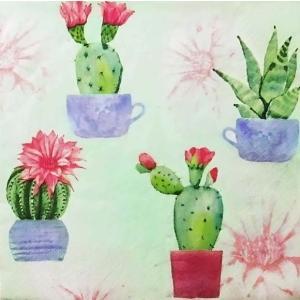 Daisy ポーランド ペーパーナプキン Lunch napkins サボテンの花 Flowering Cactuses SDOG023801 バラ売り2枚1セット デコパージュ ドリパージ|ccpopo