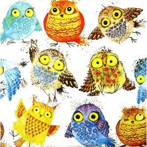 Daisy ポーランド ペーパーナプキン Lunch napkins おどけたフクロウ ふくろう 鳥 梟 Crazy Owls SDOG-027401 バラ売り2枚1セット デコパージュ ドリパージュ|ccpopo