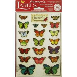 スタンペリア Stamperia イタリア デコレーションラベルステッカー 蝶 Butterfly Labels A5 DF3DA520 正規輸入品 素材|ccpopo