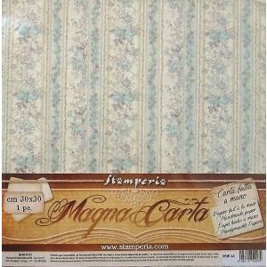 スタンペリア Stamperia イタリア マグナカルタ 30x30cm手作り紙 Magna Carta printed sheet DFMC45 ブルーの薔薇 花 2019秋冬 スクラップブッキング コラージュ|ccpopo