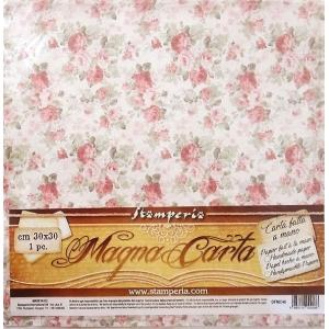 スタンペリア Stamperia イタリア マグナカルタ 30x30cm手作り紙 Magna Carta printed sheet DFMC46 薔薇 花 2019秋冬 スクラップブッキング コラージュ|ccpopo