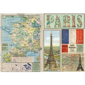 廃版 在庫限り スタンペリア Stamperia イタリア デコパージュ用ライスペーパー大 48cm×33cm Rice paper DFS0290 フランス パリ 地図|ccpopo