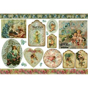 スタンペリア Stamperia イタリア デコパージュ用ライスペーパー大 48cm×33cm Rice paper DFS209 ヴィンテージ エンジェル 天使 Vintage Angels|ccpopo
