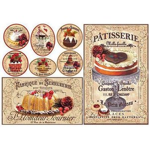 スタンペリア Stamperia イタリア デコパージュ用ライスペーパー大 48cm×33cm Rice paper DFS339 焼き菓子 ケーキ パティスリー Patisserie|ccpopo