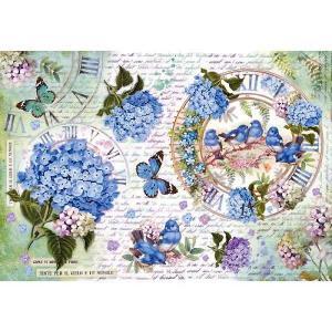 スタンペリア Stamperia イタリア デコパージュ用ライスペーパー大 48cm×33cm Rice paper DFS354 アジサイ 鳥 蝶 花 Hidrangea and birds|ccpopo