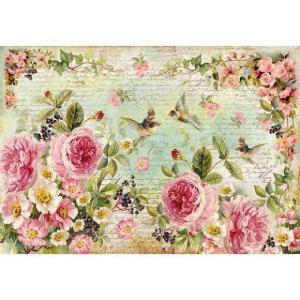 スタンペリア Stamperia イタリア デコパージュ用ライスペーパー大 48cm×33cm Rice paper DFS356 花 鳥|ccpopo