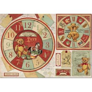 スタンペリア Stamperia イタリア デコパージュ用ライスペーパー大 48cm×33cm Rice paper DFS359 テディベア Teddy Bear watch|ccpopo