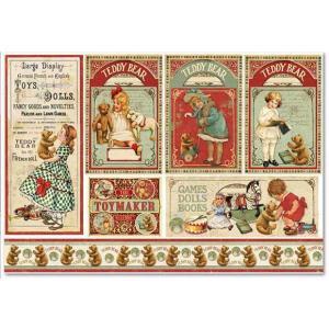 スタンペリア Stamperia イタリア デコパージュ用ライスペーパー大 48cm×33cm Rice paper DFS360 テディベアカード Teddy Bear cards ccpopo