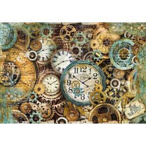 スタンペリア Stamperia イタリア デコパージュ用ライスペーパー大 48cm×33cm Rice paper DFS378 時計と歯車 Gearwheels and clocks|ccpopo