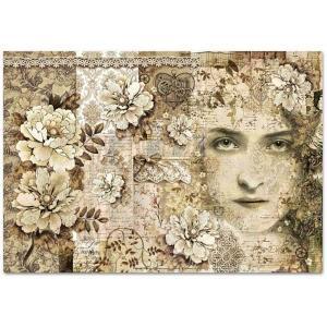 スタンペリア Stamperia イタリア デコパージュ用ライスペーパー大 48cm×33cm Rice paper DFS389 アンティーク レース 女性 Old Lace Face|ccpopo
