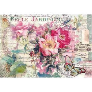 スタンペリア Stamperia イタリア デコパージュ用ライスペーパー大 48cm×33cm Rice paper DFS395 薔薇と蝶 花 バラ バタフライ Rose and butterfly|ccpopo