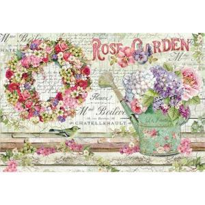 スタンペリア Stamperia イタリア デコパージュ用ライスペーパー大 48cm×33cm Rice paper DFS396 ローズガーデン 花 リース Rose Garden|ccpopo