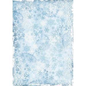 スタンペリア Stamperia イタリア デコパージュ用ライスペーパー A3 29.7cmX42cm Rice paper スノーフレーク 雪片 冬 壁紙 Snowflakes DFSA3071 ccpopo