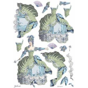 スタンペリア Stamperia イタリア デコパージュ用ライスペーパー A3 29.7cmX42cm Rice paper レディ グリーン ファッション Lady Green DFSA3073|ccpopo