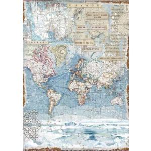 スタンペリア Stamperia イタリア デコパージュ用ライスペーパー A3 29.7cmX42cm Rice paper 南極探検 地図 壁紙 Antartic exploration DFSA3078 ccpopo