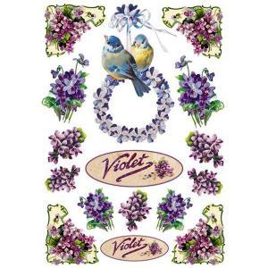 入手困難 廃版レア柄 スタンペリア Stamperia イタリア デコパージュ用ライスペーパー Rice paper A4 DFSA4036 バイオレット Violet 花と小鳥 在庫限り|ccpopo
