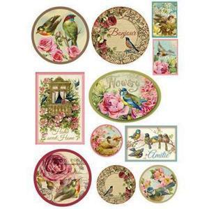 スタンペリア Stamperia イタリア デコパージュ用ライスペーパー Rice paper A4 花 鳥 メダル タグ DFSA4072|ccpopo