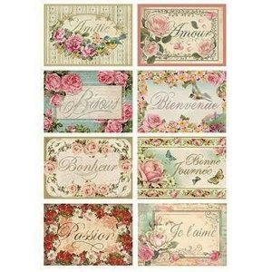 スタンペリア Stamperia イタリア デコパージュ用ライスペーパー Rice paper A4 Deco Tags with flowers DFSA4073