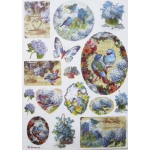 スタンペリア Stamperia イタリア デコパージュ用ライスペーパー Rice paper A4 花 鳥 DFSA4077|ccpopo